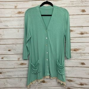 LOGO By Lori Goldstein Button Front Cardigan Lace